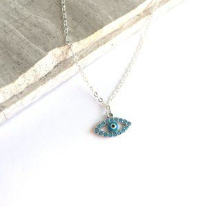 Sterling Turquoise CZ Evil Eye Charm Necklace